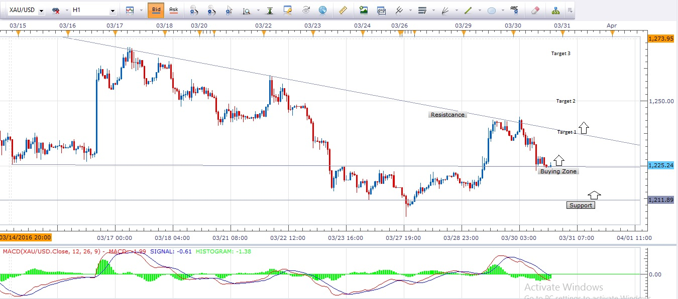 1 Hour Gold Chart